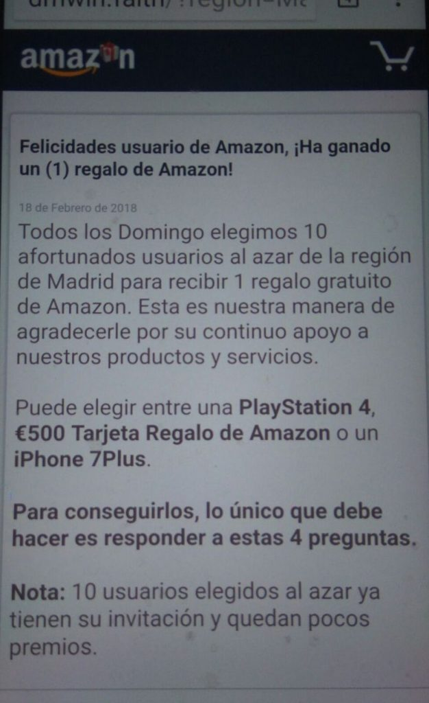 ha ganado un regalo de amazon
