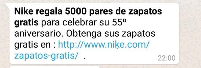 Nike regala 5000 pares de zapatos gratis en WhatsApp